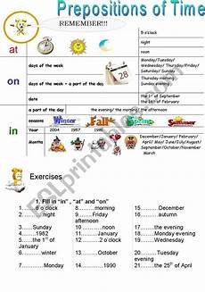 preposition of time worksheets for grade 3 3491 prepositions of time esl worksheet by stunningstar