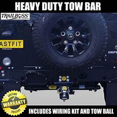 trailboss heavy duty towbar to suit land rover defender 90 mwb with st fastfit bullbars and