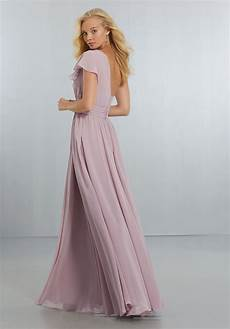 chiffon bridesmaids dress with one shoulder flounced sleeve style 21554 morilee