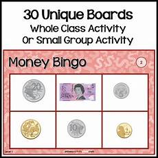 money bingo worksheets 2076 australian money bingo 30 boards single coins notes tpt