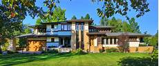 custom frank lloyd wright style house front elevation prairie style exteriors cottage