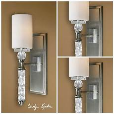 three 20 quot glass crystal brushed nickel wall sconce lights lighting fixture ebay