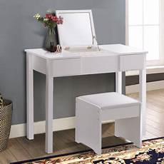 Bathroom Table Storage by Costway White Vanity Dressing Table Set Mirrored Bathroom