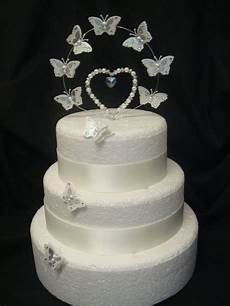 crystal pearl heart butterfly wedding anniversary cake