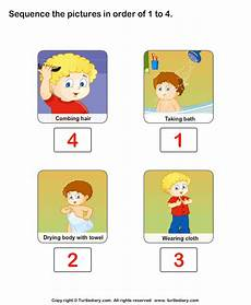 personal hygiene sequence the pictures worksheet turtle diary