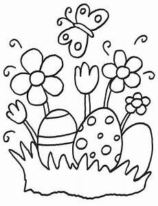 Malvorlagen Ostern Einfach Kostenlose Malvorlage Ostern Ostereier Und Osterblumen