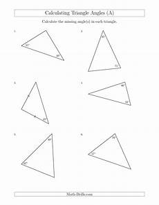 free angle measurement worksheets 1993 new calculating angles of a triangle given the other angle s a math worksheet freemath