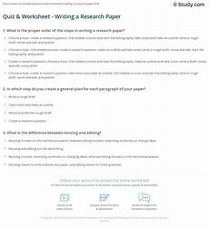 quiz worksheet writing a research paper study