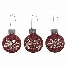 wooden christmas ornaments of 3 merry christmas happy holidays seasons greetings