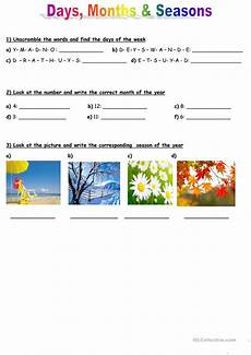 worksheets seasons and days of the week 14784 days months and seasons esl worksheets