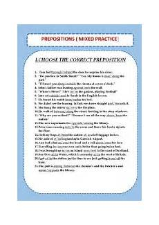 english worksheets prepositions mixed practice