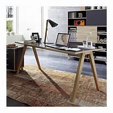 bureau gris avec plateau 160 x 80cm et pieds bois massif