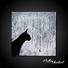 tableau moderne noir et blanc tableau chat noir et blanc