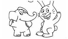 bild ausmalbild vom elefanten und rosa hasen rechte ki