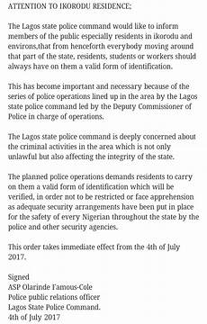 residents in ikorodu from henceforth should always have a valid form of identification lagos