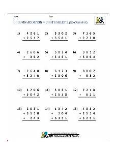worksheets addition with 4 digit addends 9152 free printable addition worksheets 3rd grade