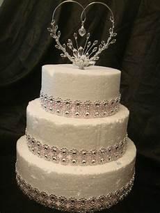crystal heart satin ribbon silver trim anniversary wedding