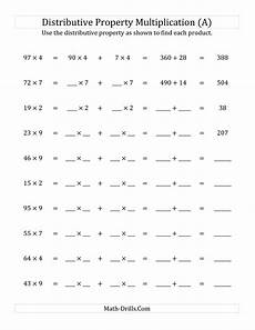 properties of multiplication worksheets grade 1 4943 the multiply 2 digit by 1 digit numbers using the distributive property distributive property
