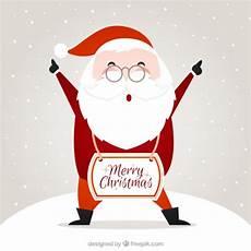santa claus merry christmas card vector free download