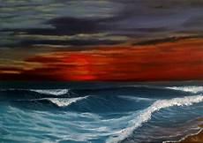 tableau huile sur toile coucher de soleil