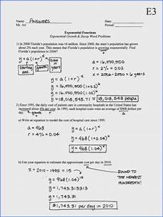 exponential growth and decay worksheet mychaume com