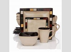 Gibson Mosaic Tile Square 16 Piece Dinnerware Set