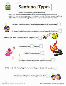 get into grammar types of sentences 2 worksheet