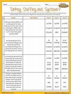 thanksgiving algebra worksheets high school 8433 pairs check activity solving systems of equations substitution method math systems of