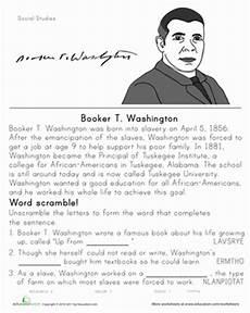 booker t washington historical heroes worksheet
