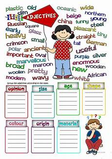 parts of speech adjectives worksheet free esl printable worksheets made by teachers