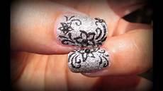 tutorial nail fiori flowers on silver sugar effect nails tutorial