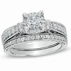 1 1 5 ct t w diamond vintage style bridal in 14k white gold bridal sets wedding zales