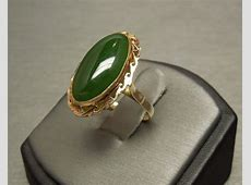 10K Gold Vintage Jade Solitaire Victorian Style Ring C1950