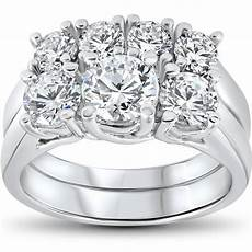 3 ct diamond engagement wedding ring 3 stone matching band 14k white gold ebay