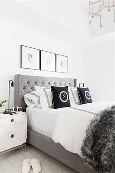 Bedroom Decor Ideas With Grey Walls by Grey Tufted Headboard Light And Bright Bedroom Home
