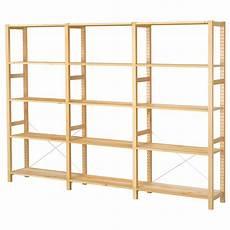 ivar 3 section shelving unit pine shelves and basements