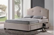 Kopfteil Bett Mit Ablage - baxton studio armeena beige linen modern storage bed with