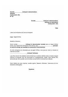 Exemple Gratuit De Lettre Appel Offres Ferm 233