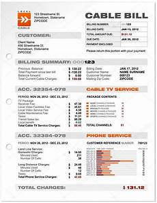 cable service phone bill document sle template vector
