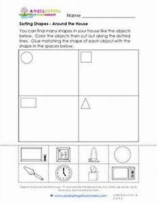sorting by shape worksheets for kindergarten 7887 sorting shapes around the house a wellspring