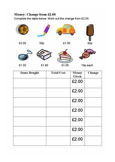 money worksheets change 2229 money change from 2 pounds uk worksheet for 4th 5th grade lesson planet