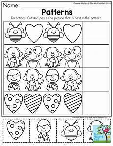 cut and paste patterns worksheets for kindergarten 309 february filled learning preschool valentines preschool worksheets worksheets