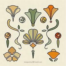 Floral Ornaments In Nouveau Vector Free