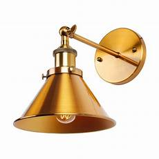 1 light wall sconce with metal cone shade brass whosel
