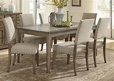 liberty furniture weatherford 7 piece rectangular leg dining set in weathered gray est ship time