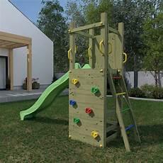 portique en bois pour enfants avec toboggan vert