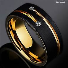 8mm black brushed tungsten ring gold grooved line diamond atop men wedding band ebay