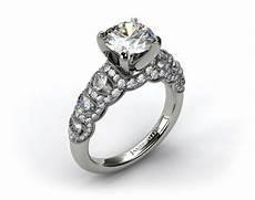14k white gold six stone pave encased swag engagement ring