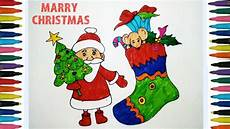 how to draw merry christmas drawing happy christmas drawing for kids santa claus poster