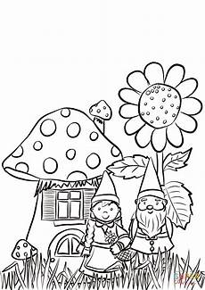 garden gnomes family coloring page free printable